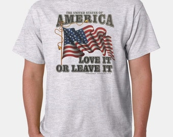 USA Love It Or Leave It American Flag T-Shirt ll Sizes & Colors (163)