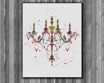 Chandelier Printable Art Print watercolor - Art Print, instant download, Watercolor Print, poster