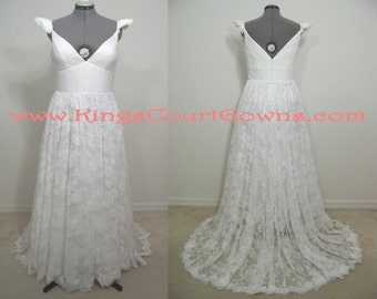 Replica Chiffon Lace V-neck Cap Sleeve Wedding Dress Gown Chapel Train
