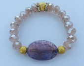 Purple Agate & Champange Beaded Bracelet with Gold Accents