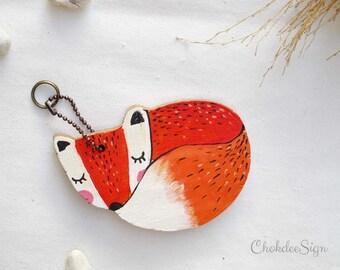 Sleepy fox hand painted wood key chain or mini wall hanging, ornament