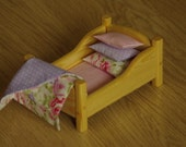 Waldorf Dollhouse bed, Miniature furniture, Waldorf Wooden bed, doll bed linen, Waldorf wooden toy, kid's room furniture, 6 inch doll bed