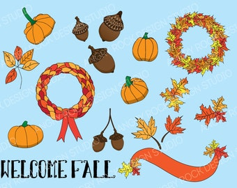 Welcome Fall Clip Art Set