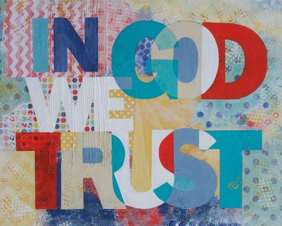 In God We Trust - Christain Word Art - Matted Giclee Print 8x10 on Luster Paper