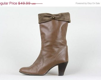 ON SALE Vintage Cuffed LUX Caramel Brown Leather Heel Boots 6.5 Us 37 Eu Leather Outsole