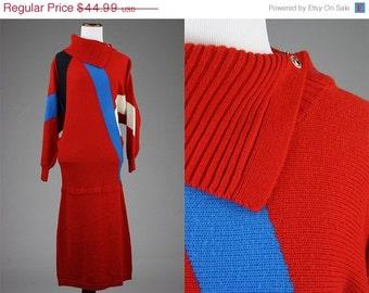 ON SALE Vintage 80s Plain Jane 100% Acrylic Sweater Dress L