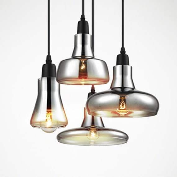Vintage glass pendant light grey color clear color amber - Colored glass pendant lights ...