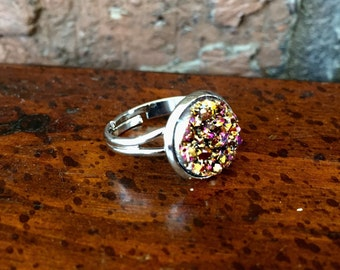 Multicolor Pink Druzy Ring