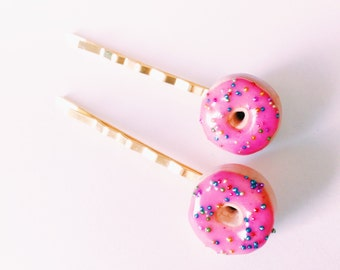 Donut Hair Pins Miniature Food Jewelry Polymer Clay