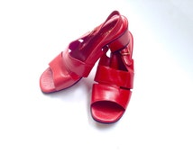 Vintage Italian sandals. Retro red leather sandals