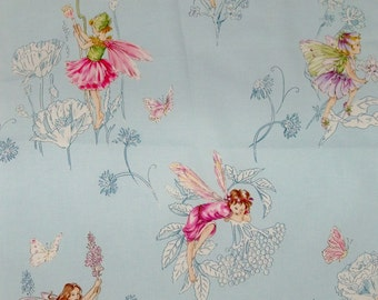 COWTAN & TOUT WHIMSICAL Fairy Tales Flower Fairies Fabric 10 Yards Blue Shabby Rose Multi