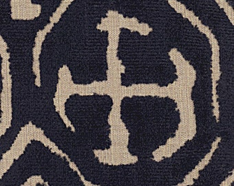 POLLACK ASIAN CHINOISERIE Medallions Cut Velvet Fabric 10 Yards Black Natural
