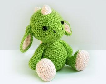 Crochet Dragon PATTERN  -Amigurumi Dragon pattern-Crochet -Knitted Stuffed animals- doll-toy-baby shower