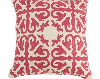 Rose Pink Crewel Embroidered Pillow