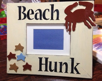Kid Picture frame, 12.5 in X 10.5 in, beach picture frame, kid picture frame, beach hunk picture frame