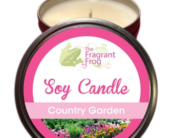 Country garden Scented 100% Soy Wax Candle approximately 40 +hours burn time.