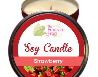 Strawberry Scented 100% Soy Wax Candle approximately 40 + hours burn time