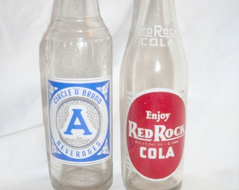 """Red Rock Cola Bottle and a Circle """"A""""  Brand Beverages Bottle, Two Vintage 9 Ounce Pop Bottles, Soda Bottle, Returnable,Vintage Pop Bottle"""