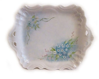 Blue Wildflowers Handled Vanity Dish