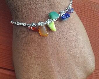 Chakra Bracelet -Crystal Bracelet - Crystal Healing, Energy Beads, Mala Beads - Crystal Bracelet - Crystal chips - Gemstone chips  Amethyst