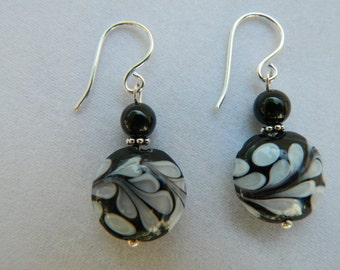 Black and White Lampwork Glass and Onyx Earrings