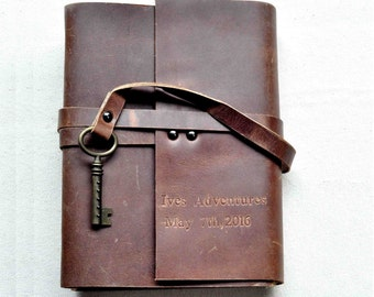 Leather Vintage Styled Fairytale Wedding Guest Book,Retro Leather notebook,Handmade Vintage books, Free Personalized stamps