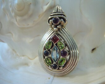 Multi gemstone pendant/Heavy sterling silver setting/Silver 925/Amethyst/Garnet/Peridot/Blue topaz