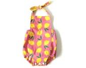 Organic Cotton Romper   Girls Summer Sunsuit   Pink Lemonade   Bubble Romper  Matching Headbands and Bows Available   Newborn - 24 months