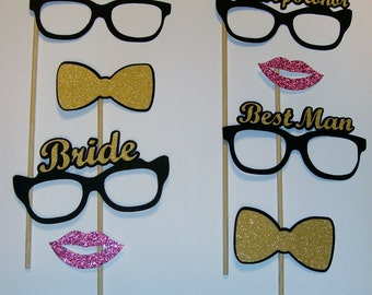 Photo Booth Props Bride and Groom Best Man Maid of Honor Weddings Marriage Engaged (2141D)