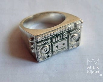 """ring """"boombox"""" or """"mixtape"""" in sterling silver, custom and custom"""