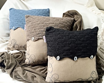 Contemporary Crochet and Hand-Stamped Cushion Cover