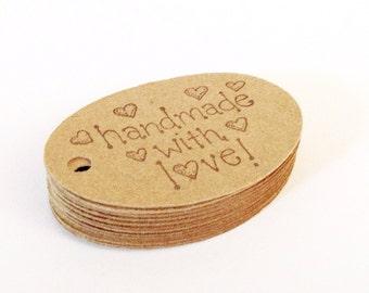 Handmade With Love Hang Tags, Gift Tags, Heart Gift Tags, Heart Hang Tags, Rustic Price Tags, Primitive, Kraft tags, SET OF 25