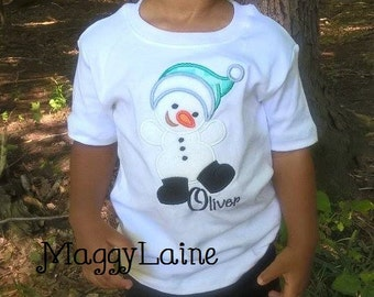 Snowman  Embroidered tee girl or boys
