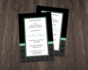 Bridal Shower Invite-Black and Green Damask