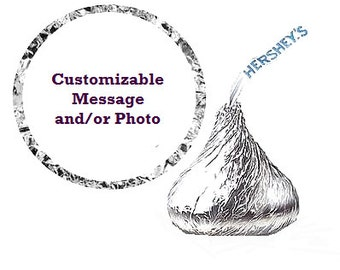 Your Photo Your Message Birthday Party Favor Hershey's Kisses Stickers / Labels -216ct