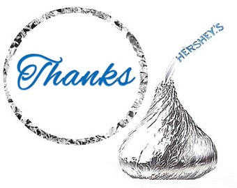 Thanks Birthday Party Favor Hershey's Kisses Stickers / Labels -216ct Blue