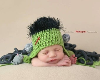 Frankenstein Hat - Halloween Hat - Sizes Newborn to Adult - Green Monster Hat - Crochet Beanie