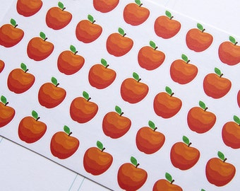 40 apple stickers, school sticker, food stickers, planner stickers, scrapbook reminder eclp filofax happy planner kikkik school food fruit