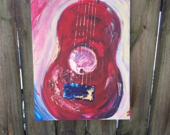 """Gee-tar, Nashville Guitar in red 16"""" x 20"""""""