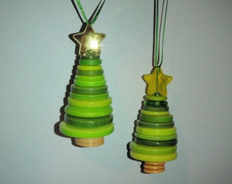Button Christmas tree and Snowman ornaments