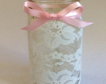 Lace mason jar - set of 5 - wedding centerpiece