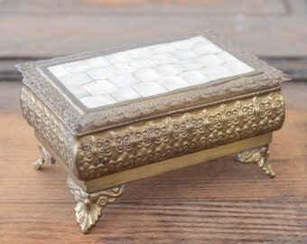 Exquisite Mother of Pearl & Brass Vintage Jewelry Trinket Box