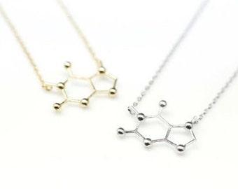 Caffeine molecule necklace. FREE SHIPPING!!