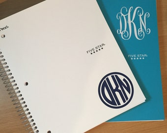 3 inch Circle or Script Vinyl Monogram Decal for Notebooks - Vinyl Decal - Monogram for Notebook - Notebook Decals - Vinyl Decals - Monogram