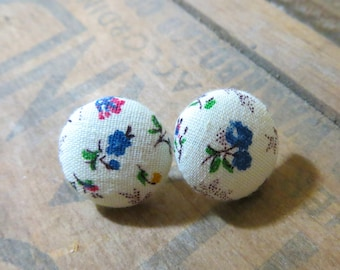 Dainty Flower Fabric Earrings with White Background