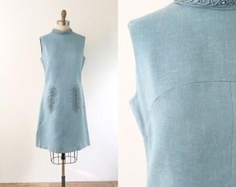 1960s Light Blue Shift Dress | medium