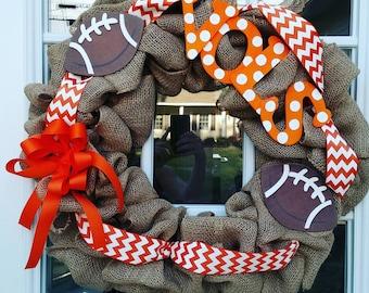 Vols wreath. Tn vols wreath. UT wreath. TN Vols burlap wreath. Football wreath. UT Vols decor. Vols door decor. Tennessee wreath.