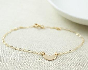 Crescent moon bracelet - dainty moon bracelet - gold moon bracelet