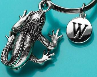 Iguana Keychain, Iguana Key Ring, Reptile Keychain, Initial Keychain, Personalized Keychain, Custom Keychain, Charm Keychain, 612