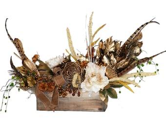 Gold Pheasant Feather Box Arrangement